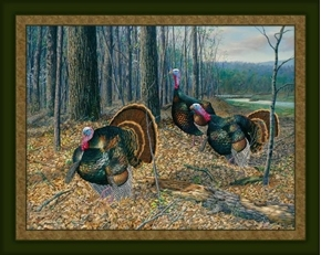 Riding the Coattails Wild Turkey Randy McGovern Digital Fabric Panel