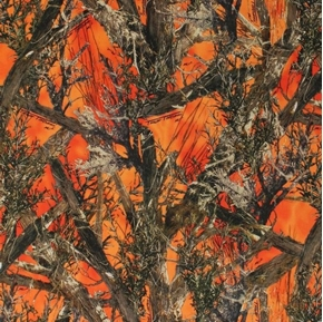 True Timber MC2 Blaze Camouflage Tree Branches Orange Cotton Fabric