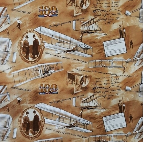 Wright Brothers 100 Years Flight Vintage Airplane Wide Cotton Fabric