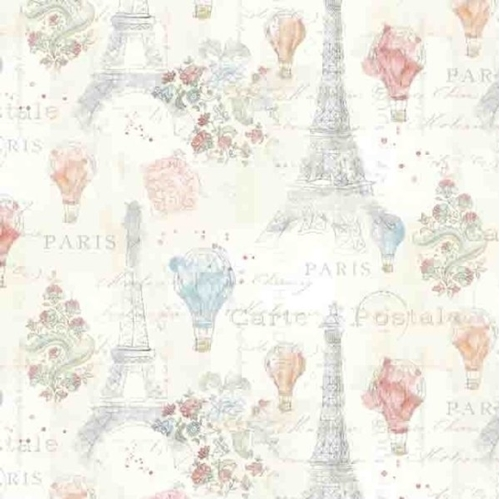 Lighthearted in Paris Eiffel Tower France Pastel Cotton Fabric