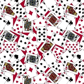Man Cave Playing Cards Game Card Toss Poker Red Cotton Fabric