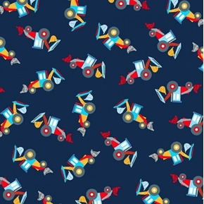 Work Zone Bulldozers Construction Trucks Bulldozer Navy Cotton Fabric