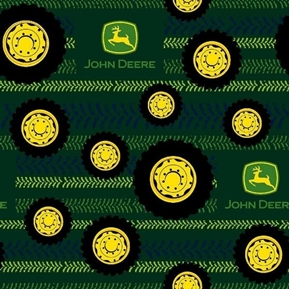John Deere Tractor Tire Toss and Tread Marks Green Cotton Fabric