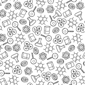 It's Elementary Science Class Atoms Molecules White Cotton Fabric