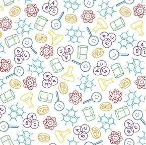 It's Elementary Science Class Atoms Molecules Rainbow Cotton Fabric