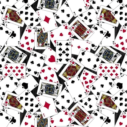 Man Cave Playing Cards Game Card Toss Poker Black Cotton Fabric