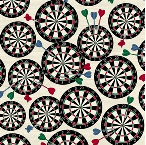 Man Cave Dart Boards Darts Pub Game Cream Cotton Fabric