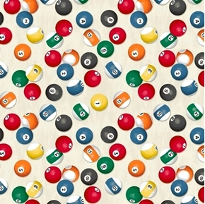 Man Cave Billiard Balls Shooting Pool Game Cream Cotton Fabric