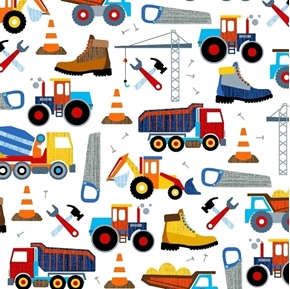 Work Zone Construction Trucks Tools Dump Truck Bulldozer Cotton Fabric