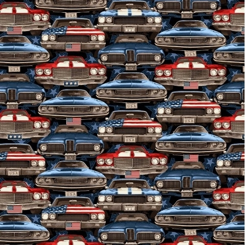 American Muscle On-Coming Cars Patriotic Red Blue Car Cotton Fabric
