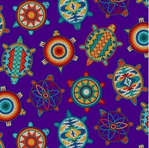 Tucson Native American Beaded Turtles Southwest Purple Cotton Fabric