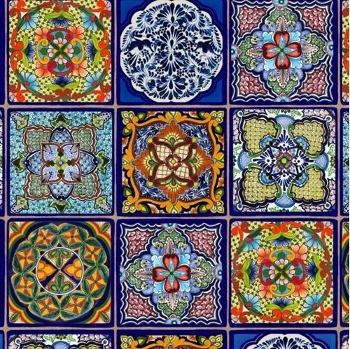 Fiesta Royal Mexican Talavera Tiles Ceramic Tile Mexico Cotton Fabric