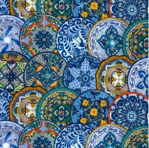 Fiesta Stacked Plates Mexican Talavera Ceramic Blue Cotton Fabric