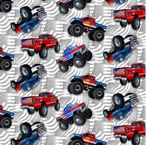 American Truckers Tossed Patriotic Monster Trucks Truck Cotton Fabric