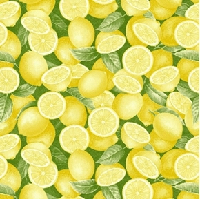 Just Lemons Whole and Half Yellow Lemons and Leaves Cotton Fabric