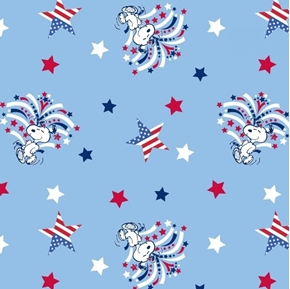 Patriotic Peanuts Snoopy Star Spangled Dancing Dog Cotton Fabric