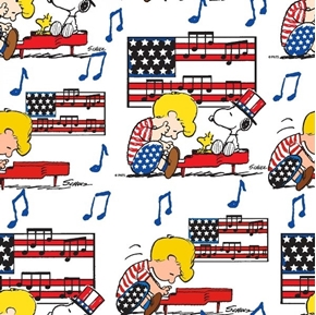 Patriotic Peanuts Linus Snoopy Americana Schroeder Music Cotton Fabric