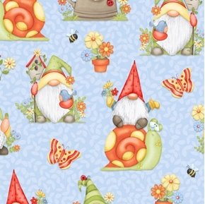 Gnome is Where Your Garden Grows Allover Gnomes Blue Cotton Fabric