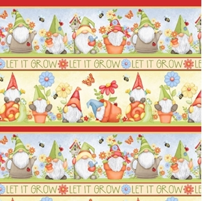 Gnome is Where Your Garden Grows Gnomes Novelty Stripe Cotton Fabric