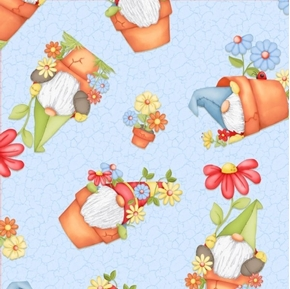 Gnome is Where Your Garden Grows Gnomes in Clay Pots Cotton Fabric