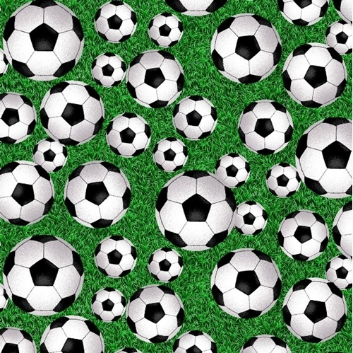 Born to Score Soccer Balls on Green Turf Grass Cotton Fabric