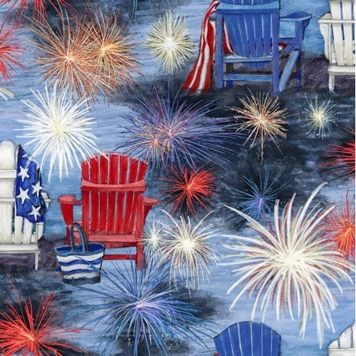 Patriotic Chair Scene Fireworks July 4th Susan Winget Cotton Fabric
