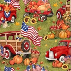 Patriotic Harvest Red Truck Pumpkins Puppies Susan Winget Cotton Fabric
