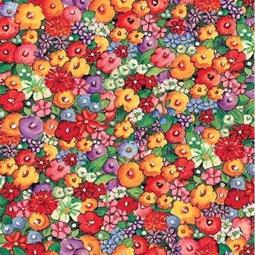 Bless This House Packed Floral Illustrated Flowers Cotton Fabric