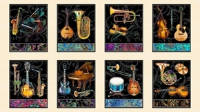 Fine Tuning Instrument Picture Panels Music 24x44 Cream Fabric Panel