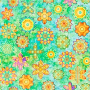 Dream Big Flower Toss Whimsical Flowers Tea-stained Green Cotton Fabric
