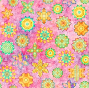 Dream Big Flower Toss Whimsical Flowers Tea-stained Pink Cotton Fabric