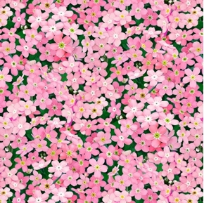 Landscape Medley Forget-Me-Not Flowers Pink Petals Cotton Fabric