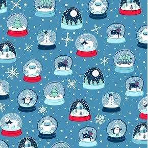 Twinkle Twinkle Snow Globes Christmas Holiday Blue Cotton Fabric