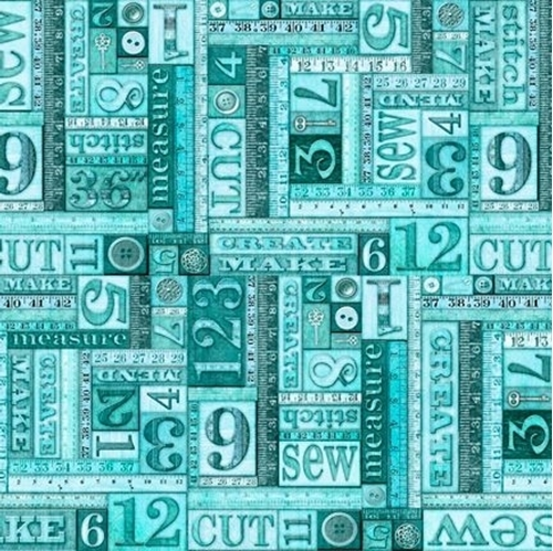 Tailor Made Numbers Patch Sewing Measurements Words Aqua Cotton Fabric
