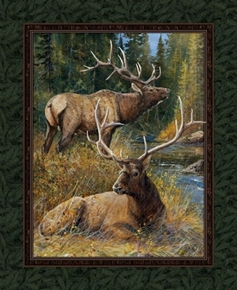 Wild Wings Lazy Afternoon Elk Couple in the Woods Cotton Fabric Panel