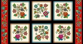 Tucson Native American Southwest Beaded Block 24x44 Cotton Fabric Panel