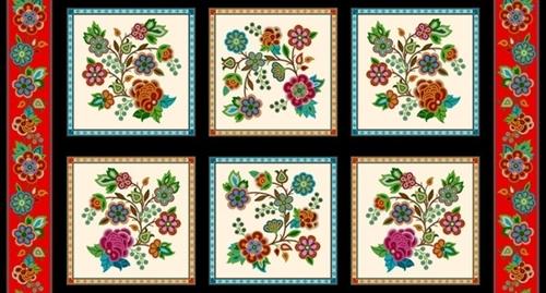 Tucson Native American Southwest Beaded Block 24x44 Cotton Fabric Panel