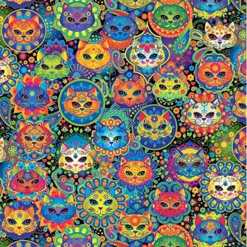 Bright Cat Sugar Skulls Decorated Cat Heads Cotton Fabric