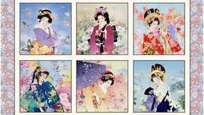 Geiko Japanese Geisha Women Blocks 24x44 Gold Metallic Fabric Panel