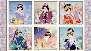Geiko Japanese Geisha Women Blocks 24x44 Gold Metallic Fabric Panel