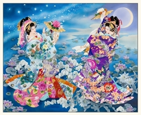 Geiko Japanese Geisha Women Lily Pad Garden Gold Metallic Fabric Panel
