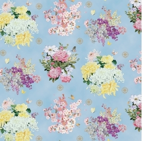 Geiko Floral Flower Bouquets Gold Metallic Accent Blue Cotton Fabric