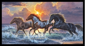 Against the Wind Wild Horse in the Ocean Surf 24x44 Cotton Fabric Panel