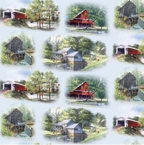 The Old Mill Stream Country Barns Mills and Bridges Blue Cotton Fabric