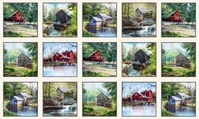 The Old Mill Stream Country Barns and Mills 24x44 Cotton Fabric Panel