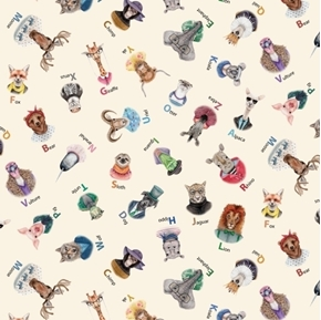 Zootopia A-Z Animal Alphabet Tossed Animals Cream Cotton Fabric