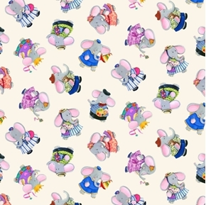 Elephant Friends Tossed Elephants Child's Play Cream Cotton Fabric