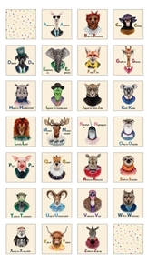 Zootopia A-Z Animal Alphabet Blocks 24x44 Cream Cotton Fabric Panel