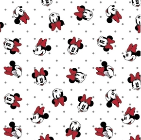 Disney Minnie Mouse Dreaming in Dots Face Toss White Cotton Fabric
