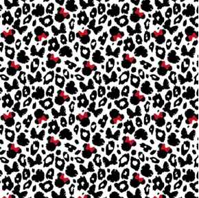 Disney Minnie Mouse Dreaming in Dots Leopard Print Cotton Fabric